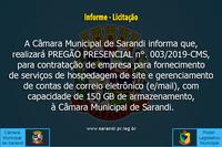 Informe - Pregão 03/19 - Serviço de Hospedagem