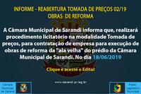 Informe - Reabertura Tomada de Preços 02/19 - Obras de Reforma
