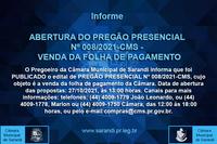 PREGÃO PRESENCIAL Nº 008/2021 - CMS