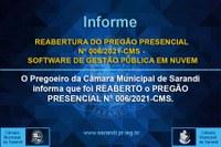 REABERTURA DO PREGÃO PRESENCIAL Nº 006/2021-CMS - SOFTWARE DE GESTÃO PÚBLICA EM NUVEM
