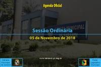 Sessão Ordinária de 05 de Novembro de 2018.